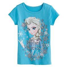 "Disney Frozen Elsa Girls T-shirt The Perfect Princess size 4-6X (5). ""The Perfect Princess"" graphic. Crewneck. Short sleeves. Cotton. Machine wash."