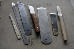 Family portrait. For those who have expressed interest, most of these are Swiss made paring and splitting knives. The small paring knife wit...