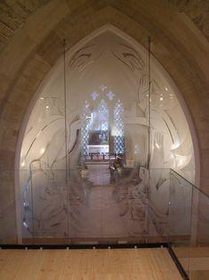 St Nicholas' Church, Islip - Glass Screen description:Top floor section looking east into church Glass - Gallery - Mynheer-art: the fine art site of painter and sculptor Nicholas Mynheer