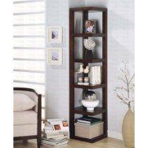 5 Tier Corner Bookshelf with Square Rack