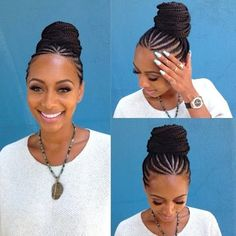 My Feeding Cornrows! So I typically get feeding cornrows every summer. They're my go to summer hairstyle when it's really hot and I can't think of anything else to do. They were also my transiti… Braided Bun Hairstyles, African Braids Hairstyles, Protective Hairstyles, Cornrows Updo, Protective Styles, Braided Updo, Cornrows With Bun, Pretty Hairstyles, Brown Hairstyles
