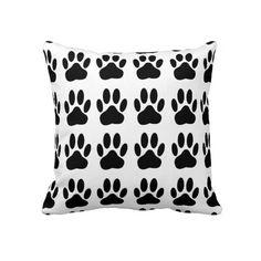 Decorative Dog Paw Print decorative throw pillow.