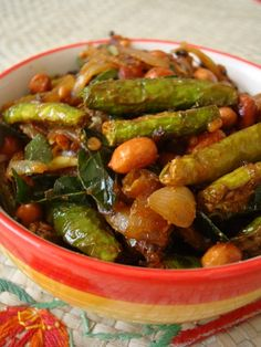 Dondakaya Verusenaga Pappu Vepudu  As long as there's lots of peanuts, this Ivy gourd stir fry recipe is a winner. A classic vegetarian dish served on special occasions as part of an elaborate Andhra thali.
