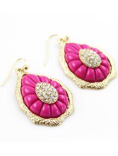 Red Crystal Drop Gold Dangle Earrings US$7.01