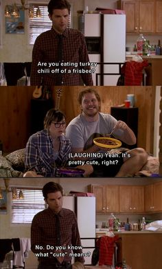 Ben Wyatt on cute. Love this show!! Also, how could he tell it was turkey chili from across the room? #ParksandRec
