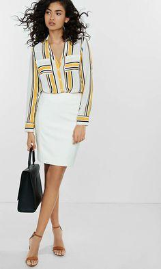 Ivory (minus The) Leather Midi Skirt | Express
