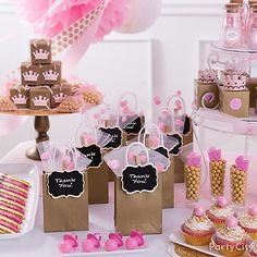 Amazing Princess Baby Shower Favor Bar Idea   Party City Love These Favors For A Of  Pink