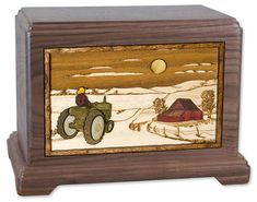 Wood Cremation Urn with Tractor