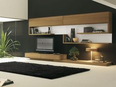 living rooms rectangular black woven rug in front of modern veneer tv stand set with light color combined with smooth white carpet floor on modern tv room
