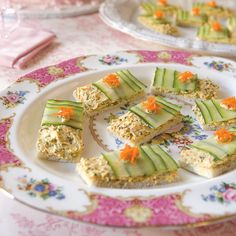Cucumber Tea Sandwiches:  These dainty cucumber tea sandwiches from Southern Lady mag are also perfect for an after-school snack or a pre-dinner appetizer.