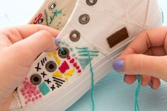Forget the Hoop! Embroider White Canvas Sneakers for Spring via Brit + Co #canvasshoesdiy