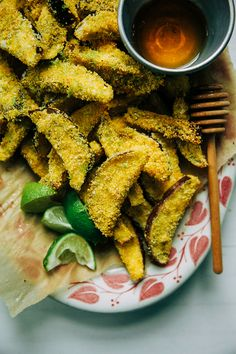 crispy eggplant polenta fries with honey + lime // @thefirstmess