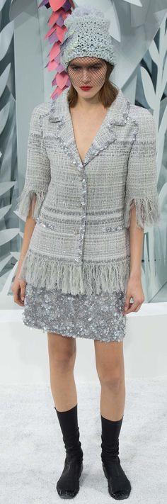 Chanel ~ Couture Grey Textured Jacket w Fringe Hem + Sequin Skirt  Spring 2015