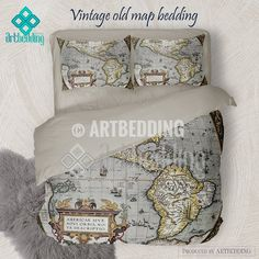 Vintage world map bedding 1626 antique map of north and south america old map bedding vintage atlas 1570 old america map duvet cover set antique map comforter set gumiabroncs Image collections