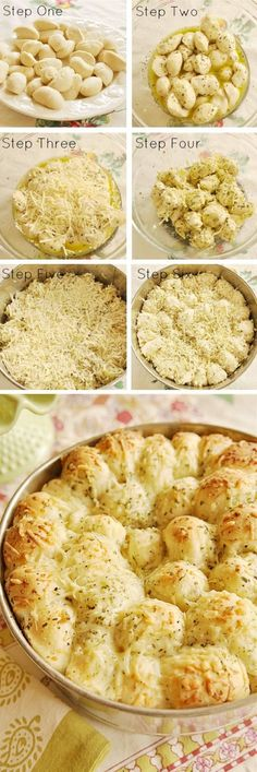 Garlic Cheese Pull-Apart Bread 16 frozen white dinner rolls (Rhodes brand) ½ C butter, melted 1 C grated Parmesan cheese, divided 1 tsp dry parsley flakes tsp garlic powder ½ tsp salt ½ tsp Italian seasoning ½ tsp onion powder - YUM! Think Food, I Love Food, Good Food, Yummy Food, Tasty, Healthy Food, Yummy Recipes, Cooking Recipes, Recipies