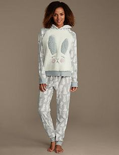 Hopping Bunny Print Fleece Pyjamas