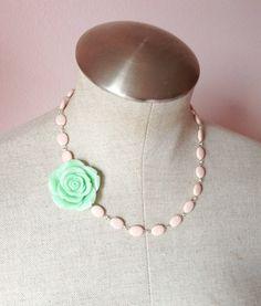 Statement necklace, mint, soft pink, pastel, bridesmaid necklace, flower necklace