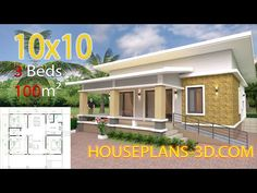 Simple House Design Plans with 3 Bedrooms Full Plans - House Plans Simple House Plans, My House Plans, Simple House Design, House Floor Plans, 2 Storey House Design, Bungalow House Design, Tiny House Design, Home Building Design, Home Design Plans