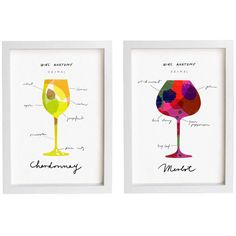 "Wine Anatomy 2 Print Set 8.3"" x 11.7"" Merlot and Chardonnay fine art... ❤ liked on Polyvore featuring home, home decor, wall art, wine bottle, white home decor, white wine bottles, photo wall art and giclee wall art"