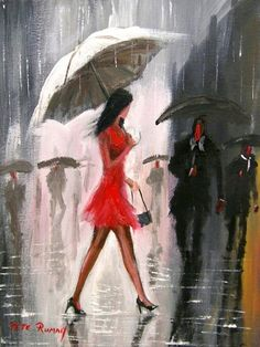 My paintings - Kvinnerposer Rain Painting, Rain Art, Umbrella Art, Types Of Art, Art World, Love Art, Art Pictures, Art Drawings, Art Photography