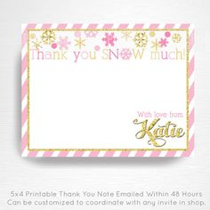 Pink Gold Winter Wonderland Winter ONEderland Birthday Digital Thank You Card YOU PRINT  This is an emailed file, nothing will be shipped to you.