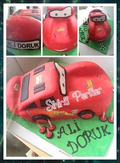 Mc queen cake Şimşek mc queen pasta Doğum günü pastası  Arabalar pasta