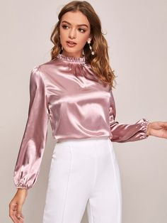 To find out about the Frilled Neck Bishop Sleeve Satin Top at SHEIN, part of our latest Blouses ready to shop online today! Metallic Blouses, Satin Blouses, Women's Blouses, Dressy Tops, Hijab Fashion, Fashion Outfits, Gothic Fashion, Steampunk Fashion, Sexy Blouse