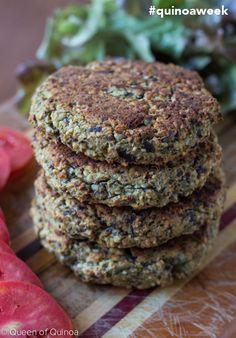 Quinoa-Eggplant Burgers for Bob's Red Mill #quinoaweek! Click through for the full recipe --> www.queenofquinoa.me