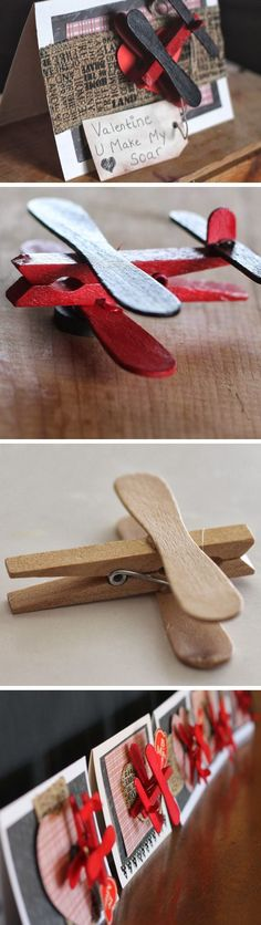 Clothespin Airplane Party Favors | Click Pic for 29 DIY Valentines Day Crafts for Kids to Make | Easy Valentine Crafts for Toddlers to Make #woodcraftkids