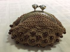 Bead crochet coin purse