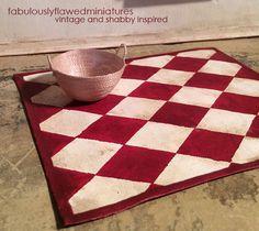 Miniature Canvas Door//Kitchen Mat//Red Plaid DOLLHOUSE