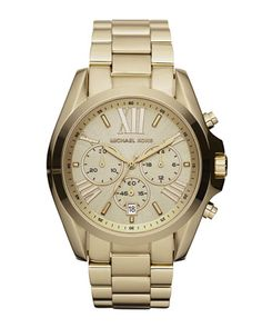 +Mid-Size+Bradshaw+Chronograph+Watch,+Golden+by+Michael+Kors+at+Neiman+Marcus.
