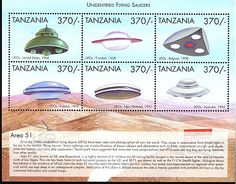 Unidentified Flying Saucers - Tanzania Postage Stamp collection. #1824: a, US, 1968. b, Trinidad, 1958. c, Belgium, 1990. d, Finland, 1970. e, New Zealand, 1951. f, Australia, 1954.