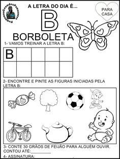 Para Casa letra B Portuguese Lessons, Diy Crafts Videos, Doll Patterns, Baby Dolls, Children, Kids, Diagram, Learning, School