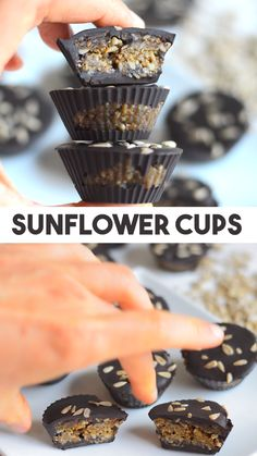 Sunflower Chocolate Caramel Cups - simple recipe for healthy dairy and nut free chocolate cups. Full of plant protein from sunflower seeds. Can be made raw vegan with a raw chocolate mixture. Use any chocolate that you like or other seeds / nut if y Vegan Sweets, Vegan Snacks, Vegan Desserts, Healthy Desserts, Raw Food Recipes, Healthy Milk, Healthy Candy, Healthy Recipe Videos, Healthy Recipes