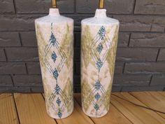 Vtg Raymor Italy Lamps 1001 Pair Bitossi Mid Century Modern Pottery Ceramic NR