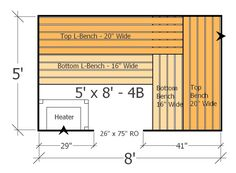 5x8 Sauna Layout with 4 Benches - Most Benches Possible with this Home Sauna Plan