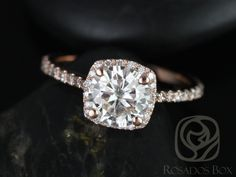 Samina 6.5mm 14kt  Rose Gold Round FB Moissanite and Diamonds Cushion Halo Engagement Ring (Other metals and stone options available) by RosadosBox on Etsy https://www.etsy.com/listing/222874003/samina-65mm-14kt-rose-gold-round-fb