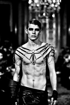 ornate leather and metal shoulder harness - mens fashion - pinned by RokStarroad - no source information provided