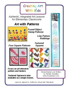 Art With Patterns - four easy art lessons that focus on pattern and texture. Stamped Patterns, Line Pattern Rubbings, Four Square Patterns, and Textured Squares.