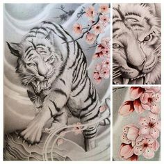 cb772a863 japanese tattoos and meanings #Japanesetattoos Dragon Koi Tattoo Design, Tiger  Tattoo Design, Tiger