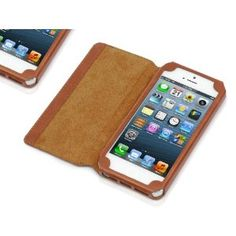 "KAVAJ leather case cover ""Dallas"" for the Apple iPhone 5 cognac brown - genuine leather with business card compartment"