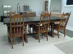 Two Tone Stained Table and Chairs, purchased and customized here at the shop