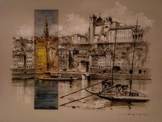 Porto Porto City, Costa, Painting, Art, Watercolour, Paintings, Art Background, Painting Art, Kunst