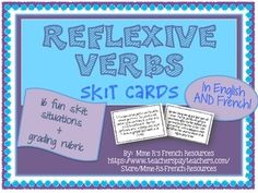 If you are teaching French reflexive verbs, your students will love these fun skit cards to practice using the vocabulary and verbs creatively!  There are 16 skit cards in all, 15 for groups of 2 and one card for a group of 3.  You can easily add a third person to many of the cards if you like.
