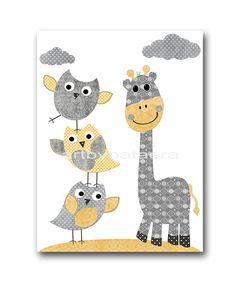 "Baby Boy Nursery art print Childrens Wall Art Baby Room Decor Kids Print Nursery Decor Boy Baby Wall Art 8"" x 10"" giraffe owls yellow grey"
