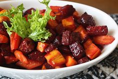 This is such a great side dish to serve with Pork, steak or chicken!       Roasted Root Vegetables   (Sweet potato, carrot and beets)     ...