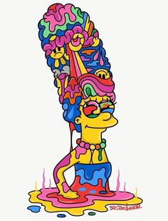 Trippy Drawings, Psychedelic Drawings, Cool Art Drawings, Art Sketches, Hippie Painting, Trippy Painting, Cartoon Painting, Simpsons Drawings, Simpsons Art