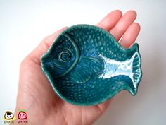 Blue, Dark Green, Ceramic Fish Plate, ceramic bowl, ceramic dish, blue fish, sauce, small, ceramic fish, decoration, decor, decorative, sea. $10.00, via Etsy.