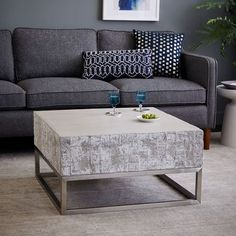 "$639 Concrete + Chrome Coffee Table | west elm 30""sq. x 16""h."